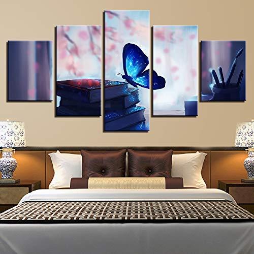 kxdrfz Lienzo Posters Decoración para el hogar Marco HD Imprime imágenes 5 Piezas Hermoso Azul Brillante Mariposa y Libro Pluma Pinturas Arte de la Pared-Sin Marco