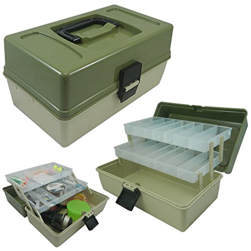 Lunar Box 2 Vassoio Cantilever Fishing Tackle Box, Scomparti Regolabili, Reg;