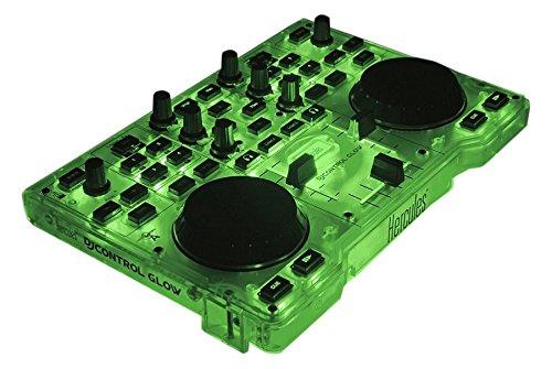 Hercules DJ Control Glow - Consola DJ con 2 ruedas Jog y effectos de luz, Verde/Negro