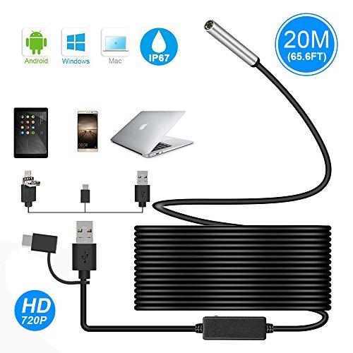 Endoscopio USB, Ihong 3in 120m 5.5mm 720p HD camera Periscopio impermeabile serpente fotocamera con connettore USB di tipo 6luci a LED per Android, Windows e Mac OS computer portatile