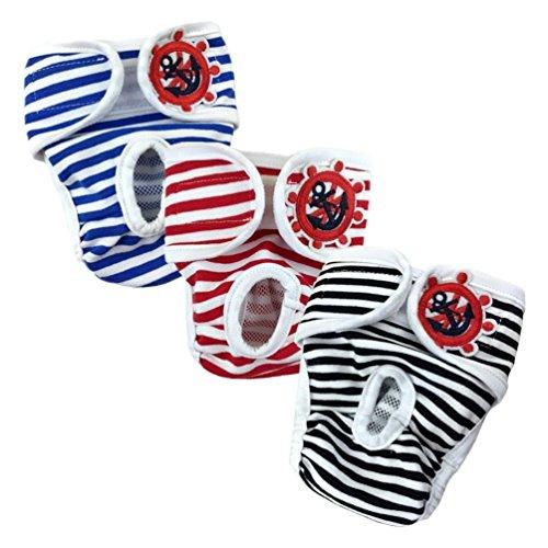 Confezione da 3 pezzi - pannoloni per cane femmina, lavabile