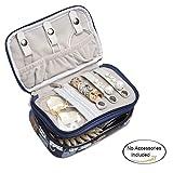 Teamoy Organizzatore di monili, valigetta di viaggio per la collana, il braccialetto, gli orecchini, gli anelli e più, il doppio strato, il tessuto impermeabile, i vari reparti, Gatti Blu