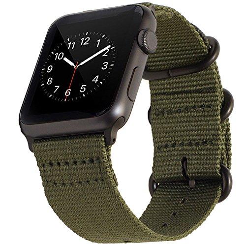 BarRan Cinturino pour Apple Watch Sport Cinturino 38mm 40mm, Nylon Adaptateurs Quick Release Watch Cinturino pour Apple Watch Sport,Series 5, Series 4, Series 3, Series 2, Series 1