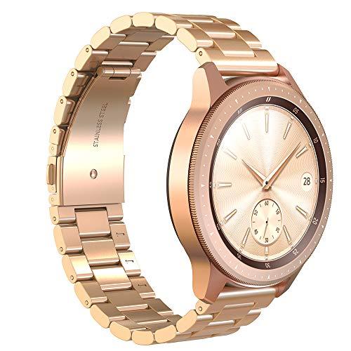 GeeRic Cinturino per Samsung Galaxy Watch (42mm), Bracciale Moda in Acciaio Inox Cinturino Sostituzione in Metallo,Tre Fibbia Cinturino di Ricambio per Samsung Watch Rosa-Oro