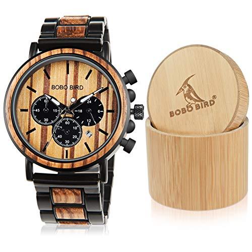 Bobo Bird In legno orologi da uomo classico lusso elegante legno e acciaio inossidabile combinato...
