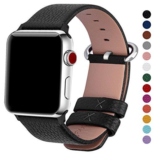 Fullmosa Compatibile Cinturino per Apple Watch 38mm/40mm e 42mm/44mm,15 Colori Yan Pelle Cinturino/Cinturini di Ricambio per Apple Watch,Cinturino per iWatch Series 5,4,3,2,1, Uomo e Donna, Nero