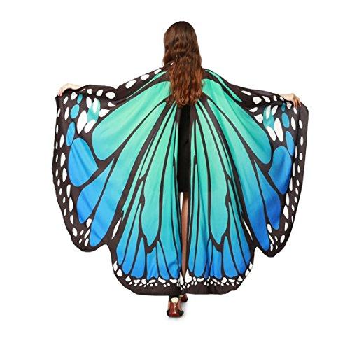 VENMO Mujeres Suave Gasa Alas De Mariposa Bufandas Chal Señoras Ninfa Traje de Hadas Poncho Accesorio (azul)