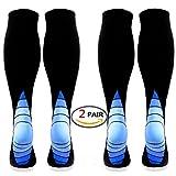 Calcetines / medias de compresión para hombres y mujeres, (2 pares) Mejor circulación sanguínea, prevenir los coágulos sanguíneos, acelerar la recuperación BEST Graduated Athletic Fit para correr, enfermeras, uso médico, Shin Splints, viaje de vuelo y embarazo de maternidad. Aumenta la resistencia, la circulación, reduce la fatiga (Black & Blue L/XL (Women 5.5-13 / Men 7-13.5) 2 PAIR)