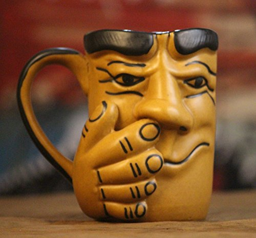 Weird Wolf Johnny hand-crafted large coffee mug (400 ml) for gifting - Beige Color