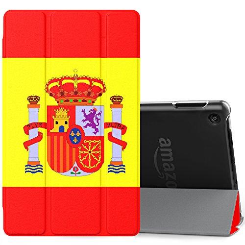 MoKo Amazon Fire 7 2017 Funda - Ultra Slim Ligero Plegable Smart Cover Case Trasera Transparente Durable con Auto Sueño/Estela para All-New Fire 7 Tableta, Bandera de España