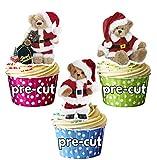 12süße Weihnachten Teddybären in Santa Hüte Essbare Cup Cake Topper-Dekorationen