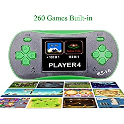 """QingShe 2.5"""" LCD Classic Portable Handheld Game Console with Speaker 260 in 1 Games-GREEN"""