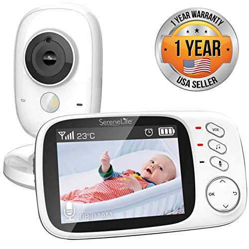 SereneLife Wireless Video Baby Monitor - Dual System w/Temperature Thermometer Sleep Camera, 3.2' Digital Color Screen Wireless Rechargeable Battery, Audio Speaker and Portable Mobile Clip - SLBCAM20