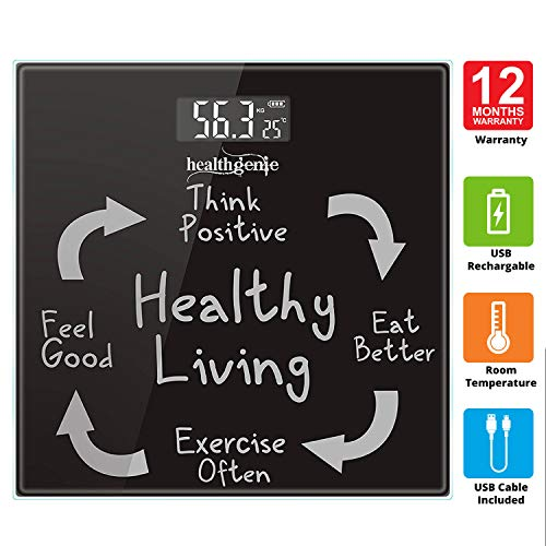 Healthgenie Digital weighing scale for body weight,Personal bathroom human body weight scale - (Black)