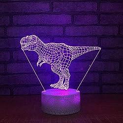 Subtop Lámpara de ilusión óptica 3D, 7 Lámpara de tacto de cambio de color con plano acrílico, base ABS, carga USB para decoración del hogar (Lámpara de dinosaurio)