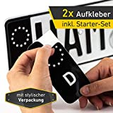 2x Kennzeichen Nummernschild Aufkleber, EU Feld Schwarz, inkl. 1x Starter-Set