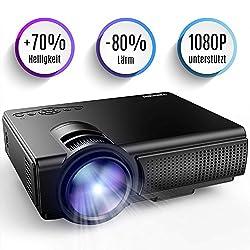 Kaufen Tenker Mini Beamer 2200 Lumens Full HD 1080P Video LCD Mini HD Projektor, Unterstützung HDMI VGA Decke/ Stativ Installation für Video TV PC Laptop Spiele iPhone Android Smartphone mit erstklassigem Ton & wenig Beigeräusch