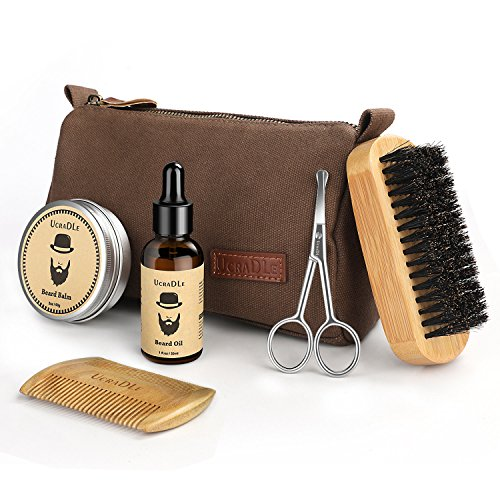 Beard Grooming & Trimming Kit - 6 Mustache Care Set for Men Care | Beard Oil | Mustache Beard Balm Wax | Beard Brush | Beard Comb | Barber Scissors | Friendly Gift Box - Best Gift for Styling & Growth