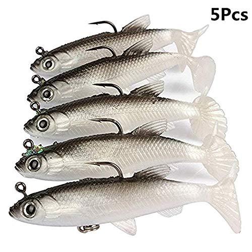 WYMAODAN, Set di Esche da Pesca, 5 Pezzi, 8 cm, con Testa Morbida in Piombo, Esche da Pesca in Mare, Attrezzatura da Pesca affilata, ami tripli, Coda a T, Bianco