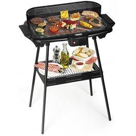 Barbecue elettrico Princess 112247 – Dotato di supporto – Grandi dimensioni 47 x 28 cm, Nero