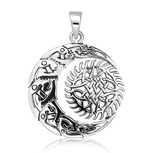 sistakno plata de ley 925nudo celta Crescent Moon Shuriken Gear sol celestial colgante