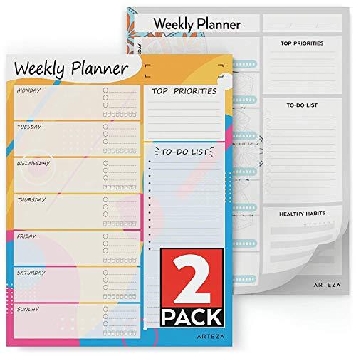 Arteza Planner Settimanale (21,5x28cm, 60 Fogli, 100GSM) Set da 2 - Planner Settimanale Scrivania o...