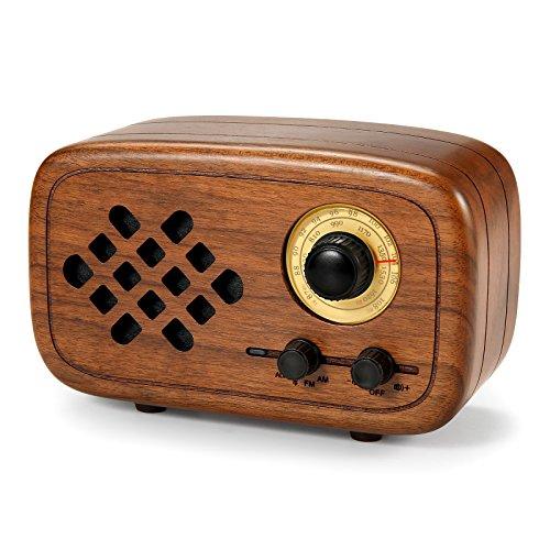Komost Handgemacht Walnußholz Tragbar Bluetooth Lautsprecher Box, Bluetooth 4.0 Drahtloser Lautsprecher mit Radio FM/AM, Natur Holz Bluetooth Lautsprechers mit Bass und Subwoofer