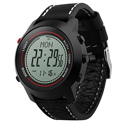 TECKEY Al aire libre escalada relojes inteligentes hombres relojes electrónicos para deportes termómetro altímetro brújula cronómetro medición de humedad - Negro + Blanco