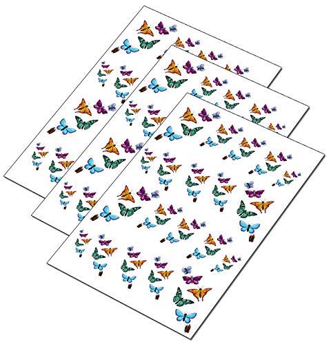 AWS Juego Water Decals mariposa mariposas colores sciame Stickers Uñas Nail Art pegatinas Transfer Decoración Reconstrucción Nail Art Butterflys Decoration