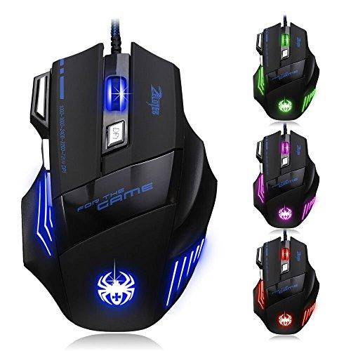 ZELOTES T80 Professionale Mouse da Gioco,7200 DPI,Ottico USB Mouse Gaming Wired Mouse da Gaming con...