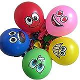 Limeo Globo Sonriente 100 pcs Emoji Globo Ojos Grandes Lindo Emoji Sonriendo Globo de látex para Fiesta de Cumpleaños o Decoración Navideña (Múltiples Colores)