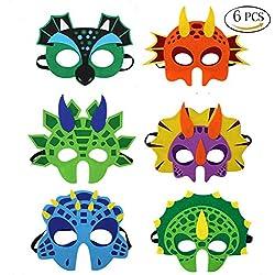 BUWANT Máscaras de fieltro de dinosaurio-latex gratis para niños mayores de 3 años, 6 surtidos