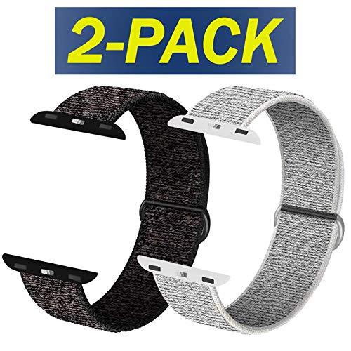 INZAKI Compatible Cinturino per Apple Watch Cinturino 38mm,40mm,42mm,44mm, Cinturino Orologio Bracciale in per iWatch Series 5/4/3/2/1,Rosato Nero&Rosato Bianca
