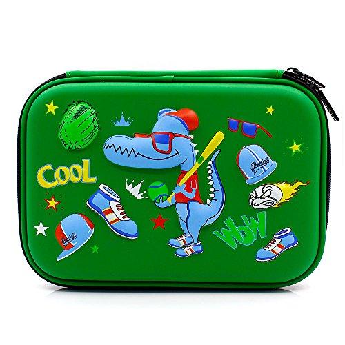 Astuccio portapenne rigido con teschio per ragazzi, per la scuola, con scomparti Green Baseball...