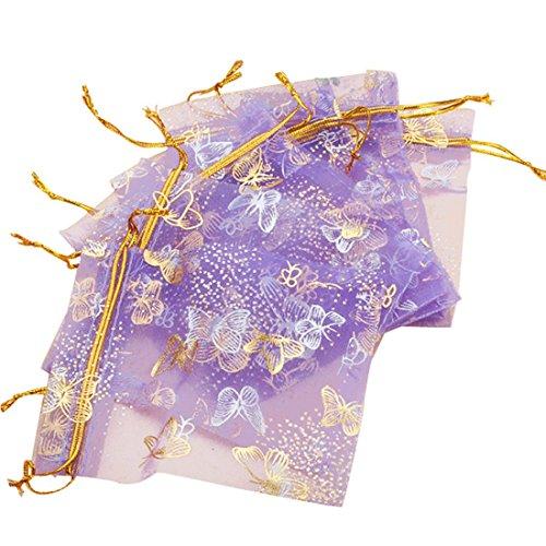 SODIAL (R) 100pcs de la mariposa del lazo de organza de bodas regalo de la joyeria de caramelo bolsa