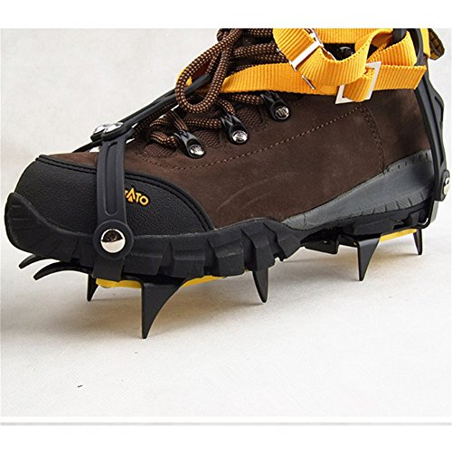 Pinchos para zapatos de nieve, antideslizantes, tipo de correa, Crampons, profesional, para escalada, cinturón de esquí, alta altitud por debajo de los 6 000 pies, para senderismo, nieve, pinchos de hielo, agarres, crampones, limpia, 10 dientes, aleación de manganeso (para zapatos de 36 a 45 talla de la UE, naranja, paquete de 2) 3