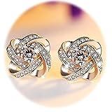 Hosaire Mujeres Moda de Las Niñas Cute Cristal de 4 Hojas de Hierba de Plata Brillante Stud...