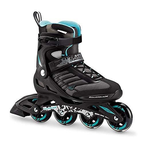 Rollerblade 07736700_915, Pattino in Linea Donna, Nero Blu Cyan, 255 cm
