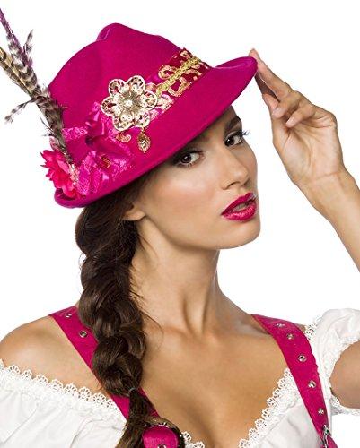 Roter Damen Filzhut Trachtenhut mit Blumen und Federn Oktoberfest Verkleidung