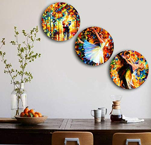 Studio Shubham Wooden Abstract Watercolor Effect Wall Plates for Hanging (7.5 Inch, Set of 3)