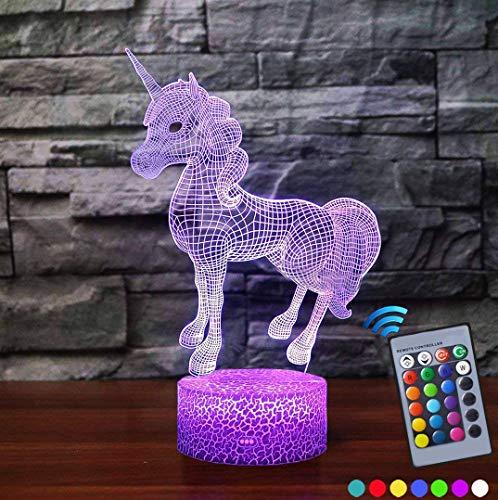 PAIGOU Lampada da notte per bambini, lampada da tavolo a LED con luce di notte a forma di unicorno...