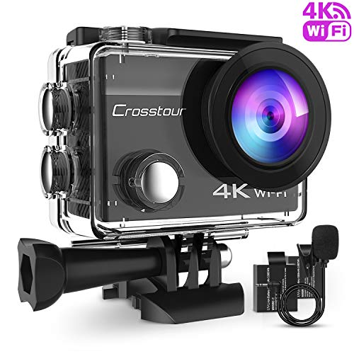 Crosstour 4K 16MP Action Cam WIFI Subacquea Camera con Microfono Esterno Anti-Agitazione Time-Lapse e 2 Batterie Ricaricabili e 20 Kit di Accessori