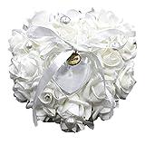 AISI Pearl Ring Pillow wedding cuscino PE schiuma rosa anello impostazione con fiocco in raso Matrimonio White