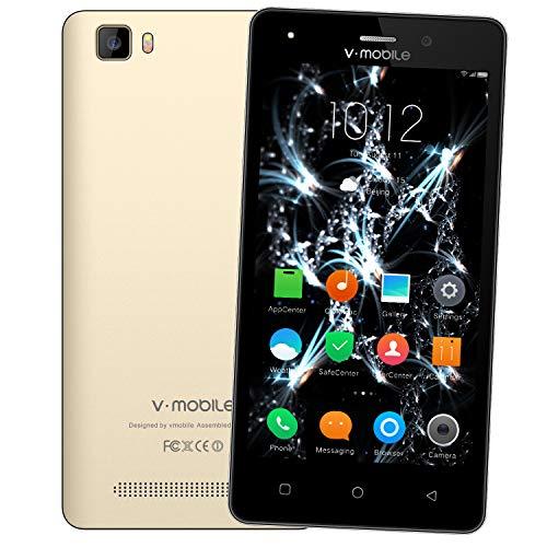 Telefonos Moviles 4g,8Pcs V Mobile A10 5.0 Pulgadas 8GB ROM 5MP Cámara Doble Sim 2800mAh Batería Android 7,0 Smartphone Telefono Movil Libres Baratos 1.3GHz Quad Core(Oro)