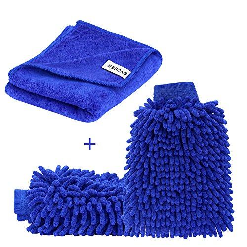SYCEES 2 Stücke Wasserdicht Mikrofaser Autowaschhandschuh und 1 Stück Microfasertuch Set, weicher Korallen Auto Chenille Waschhandschuh Handschuh mit Reinigungstuch Trokentuch für Autowäsche 12