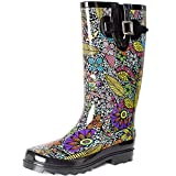 SheSole Womens Ladies Festival Wellies Rubber Rain Wellington Boots Waterproof Floral Printed UK Size 3 Black
