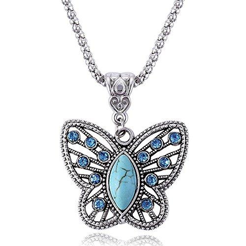 MESE London Collar de Mariposa Turquesa Plateado Plata 'The Flying Soul' en Caja de Regalo Elegante