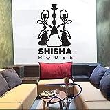 WSLIUXU Shisha Logo Wandaufkleber Arabische Wandaufkleber Vinyl Aufkleber Rastplatz Wohnkultur Kunst Schlafzimmer Wohnzimmer Dekoration Aufkleber Weiß 01 65x42cm