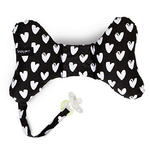 Simply Good Neck Cushion Almohada Mariposa Cervical con Soporte para Cuello y Cabeza + Portador de Chupete para Recién Nacidos, Bebés e Niños (All My Heart)