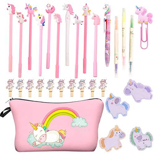 Astuccio per matite rosa grande unicorno con penne a sfera in gel carino e mini bigliettini per...